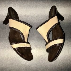 Aerosoles Beige/Brown Slip On Heeled Sandals